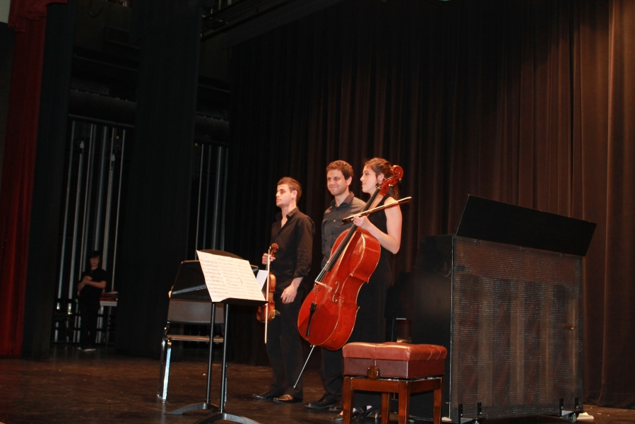 Award-winning musicians from Polyphony (l-r), Yamen Saadi, violinist; Ron Trachtman, pianist; Hagit Bar Sella, cello.