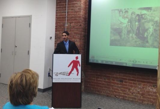 Munir Captain speaks at the Dallas Holocaust Museum on July 11.